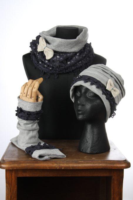 accesoires d'hiver Bonnet mitaines écharpes laine coton polaire boutons et dentelle chaud coloré agréable uniques ensembles 3pièces snood col