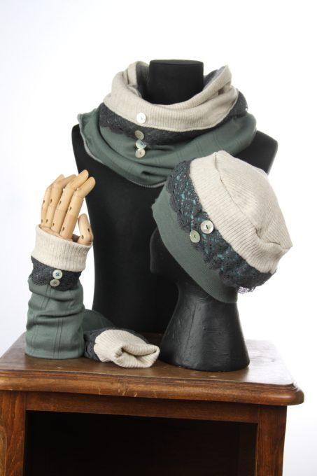 couleurs claires blanc turquoise pastelaccesoires d'hiver Bonnet mitaines écharpes laine coton polaire boutons et dentelle chaud coloré agréable uniques ensembles 3pièces snood col