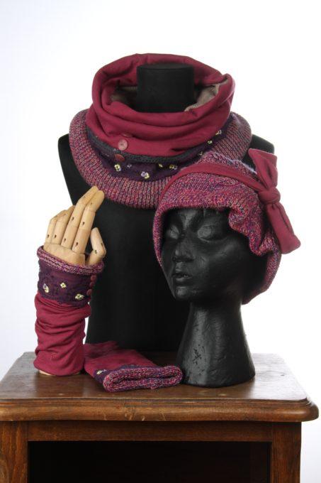 rose vioolet accesoires d'hiver Bonnet mitaines écharpes laine coton polaire boutons et dentelle chaud coloré agréable uniques ensembles 3pièces snood col