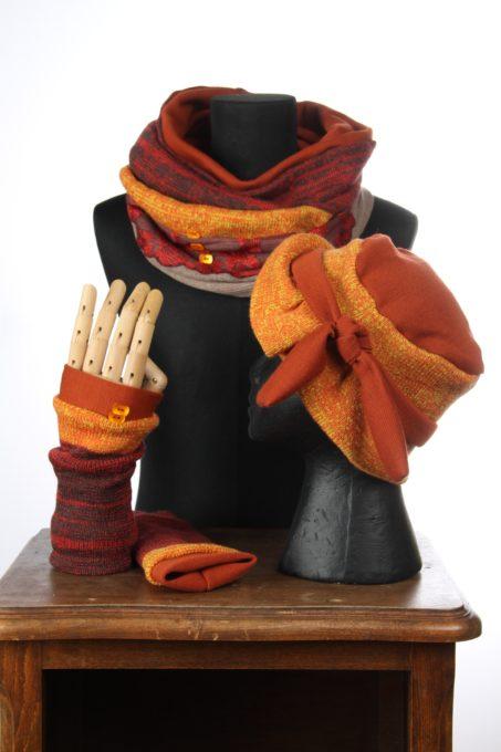 orange jaune accesoires d'hiver Bonnet mitaines écharpes laine coton polaire boutons et dentelle chaud coloré agréable uniques ensembles 3pièces snood col