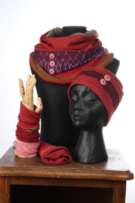 rouge multicouleurs violet accesoires d'hiver Bonnet mitaines écharpes laine coton polaire boutons et dentelle chaud coloré agréable uniques ensembles 3pièces snood col