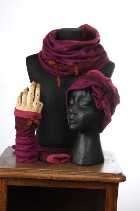 rose fushia accesoires d'hiver Bonnet mitaines écharpes laine coton polaire boutons et dentelle chaud coloré agréable uniques ensembles 3pièces snood col fushia orange