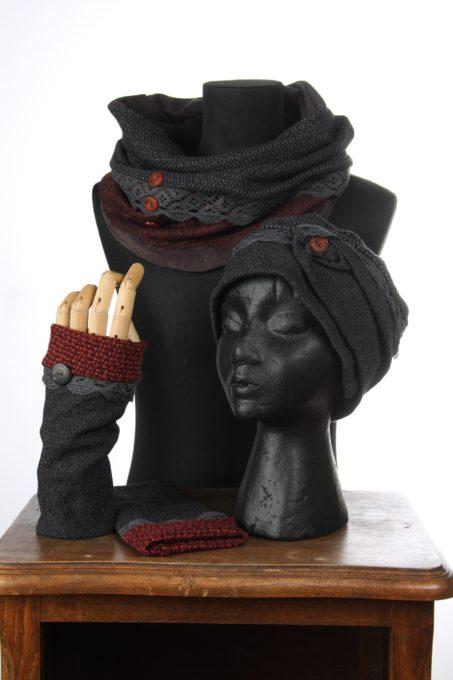 gris violet maron accesoires d'hiver Bonnet mitaines écharpes laine coton polaire boutons et dentelle chaud coloré agréable uniques ensembles 3pièces snood col gis violet
