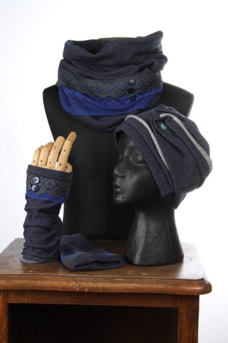 accesoires d'hiver Bonnet mitaines écharpes laine coton polaire boutons et dentelle chaud coloré agréable uniques ensbleu gris embles 3pièces snood col