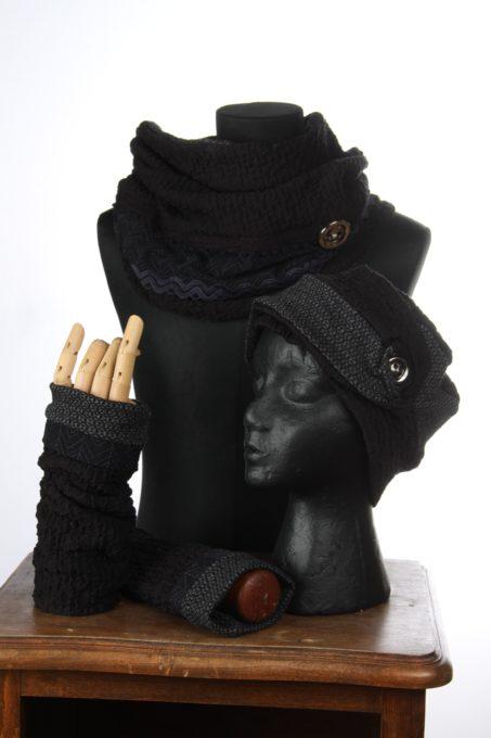 accesoires d'hiver Bonnet mitaines écharpes laine coton polaire boutons et dentelle chaud coloré agréable uniques ensnoir et gris embles 3pièces snood col