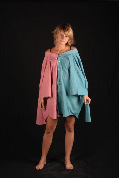 Robe angélique rose et bleu chemises transformer