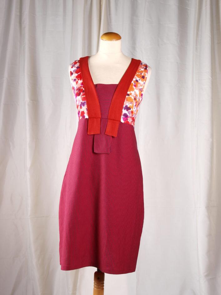 robe collection été 2015 rouge orange et violat avec légé col
