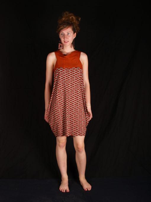 Robe alons y en couleurs orange avec imprimé ethnique épaules dégagées