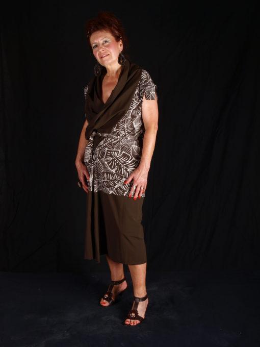 Robe alons y en couleurs maron portefeille avec grand col
