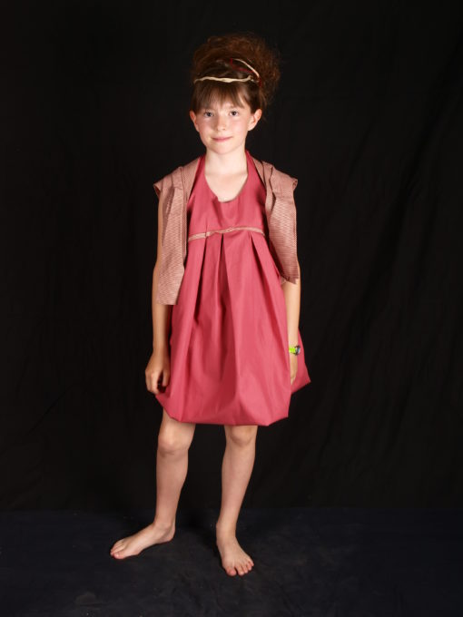 Robe enfant rose avec gilet coton rayé