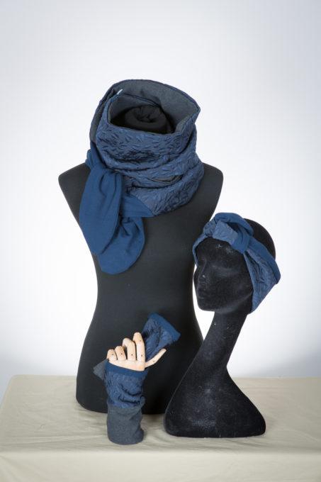 accessoires hiver, tissu, écharpe, bandeau, mitaines, création, pièce unique,